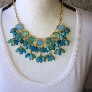 Blue Aqua Glass/Lucite Necklace.